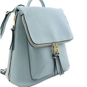 Handbags - Super Cute Zip Flap Over Backpack Dusty Blue